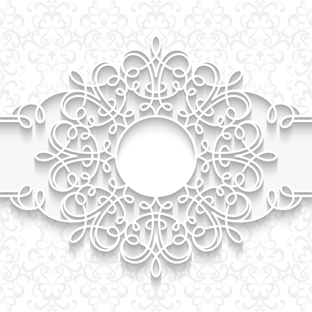 swirly: Swirly paper frame with shadow,  round vignette, ornamental label on white background Illustration