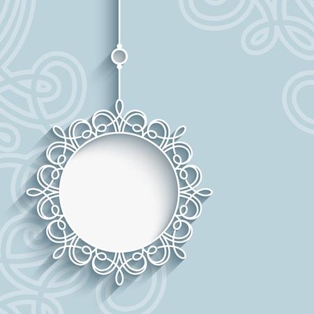 Élégant pendentif en dentelle sur fond ornemental neutre, mandala, flocon de neige, dentelle décoration de Noël, carte de voeux, invitation ou un modèle d'annonce Vecteurs