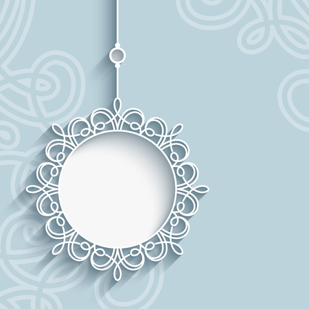 Elegant lace pendant on ornamental neutral background, mandala, snowflake, lacy Christmas decoration, greeting card, invitation or announcement template Illustration