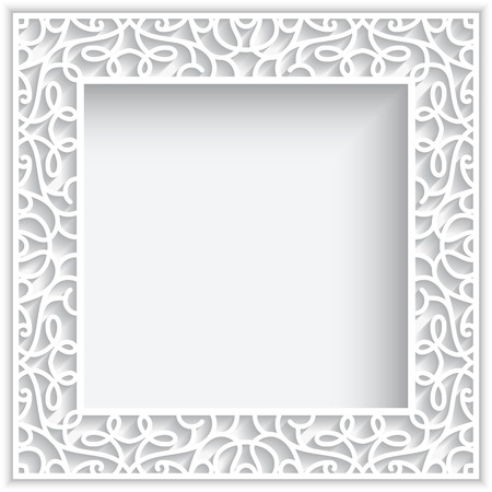 cutout: Square cutout paper lace frame on white background