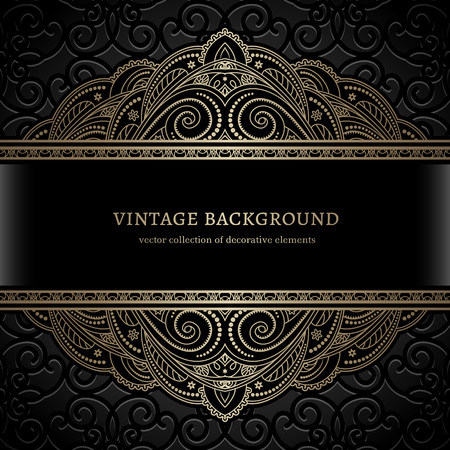 black gold: Vintage gold background, divider, header, border lace ornament, gold lacy frame