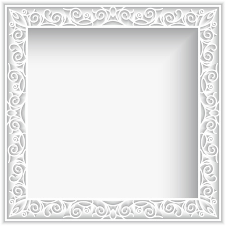 square frame: Abstract square lace frame with paper swirls, white ornamental background