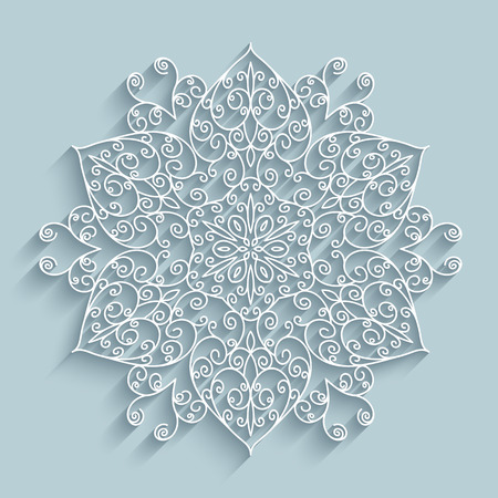 christmas paper: Paper snowflake, swirly lace doily, winter decoration Illustration