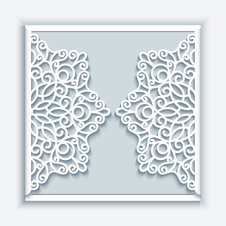 Elegant greeting card with lace decoration, lacy wedding invitation or announcement template 向量圖像