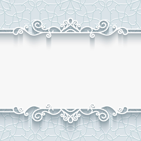Abstract background with paper border, divider, header, ornamental frame in neutral color