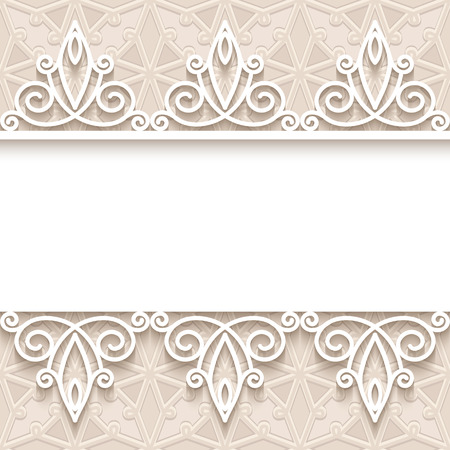 neutral: Vintage lacy background in neutral colors, ornamental frame with lace borders