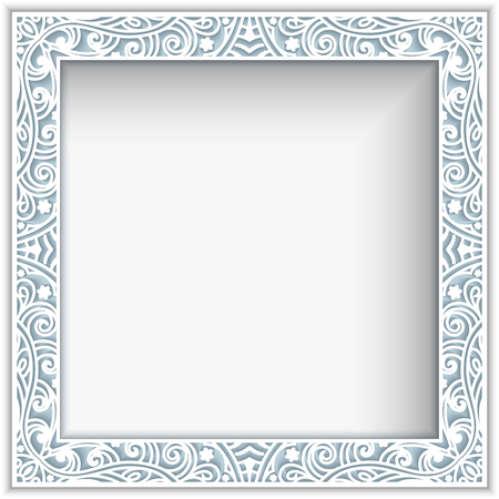 page background: Square frame with cutout paper lace border ornament, greeting card or wedding invitation template