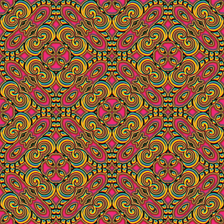gaily: Abstract swirly ornament, seamless pattern in bright colors