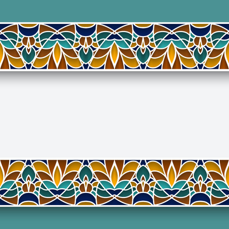 majolica: Mosaic frame with ornamental majolica border lines in Moorish style