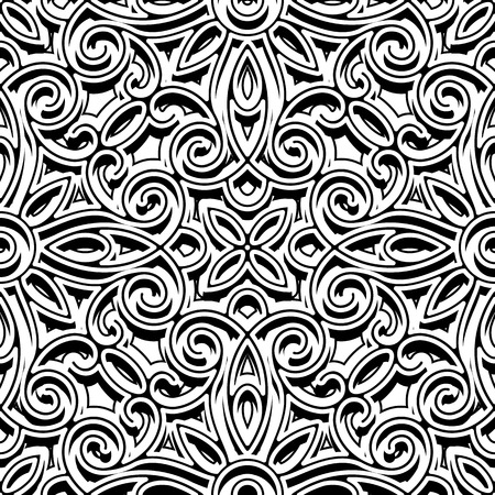 floral decoration: Black and white background, swirly ornament, vintage seamless pattern Illustration
