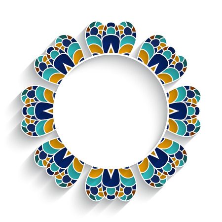 decoration style: Mosaic circle ornament, majolica decoration in Moorish style on white