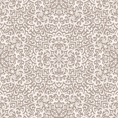 beige background: Vintage beige background, curly ornament, seamless pattern