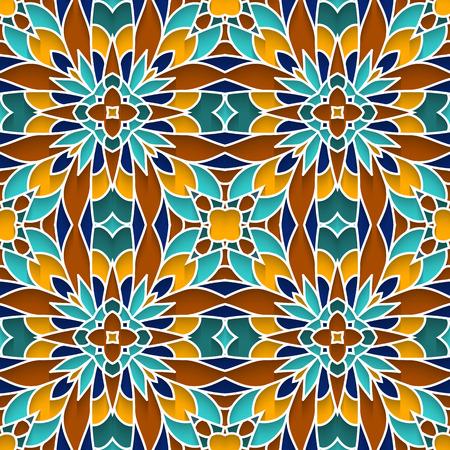 majolica: Abstract mosaic ornament, ceramic tile, majolica background, seamless pattern Illustration
