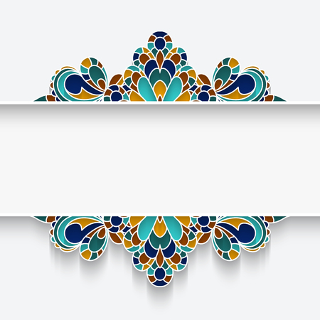 majolica: Mosaic majolica frame with colorful borders, divider, header, ornamental decoration on white