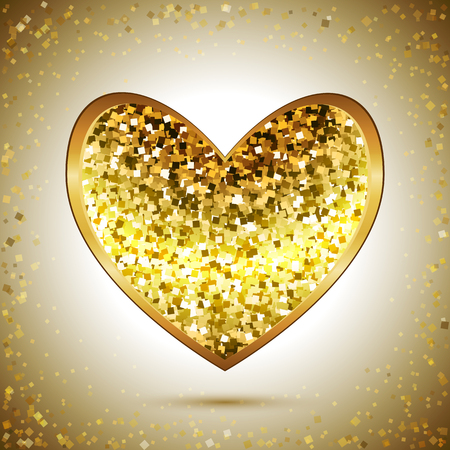 shiny gold: Shiny gold heart, golden background, greeting card for Valentines day