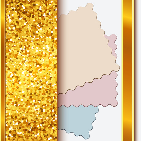 shiny gold: Gold frame with shiny golden borders and cutout cards on white background Illustration