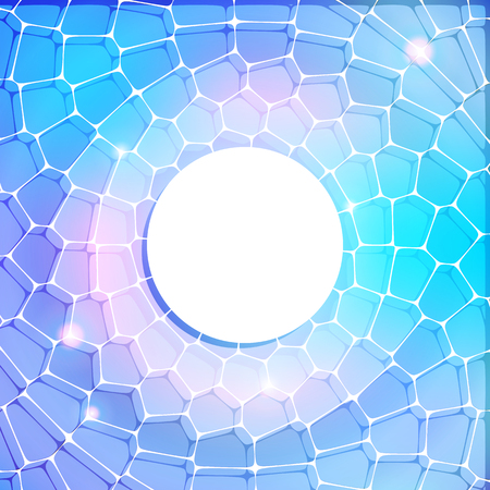 pearly: Abstract blue background with lacy grid, circle frame template