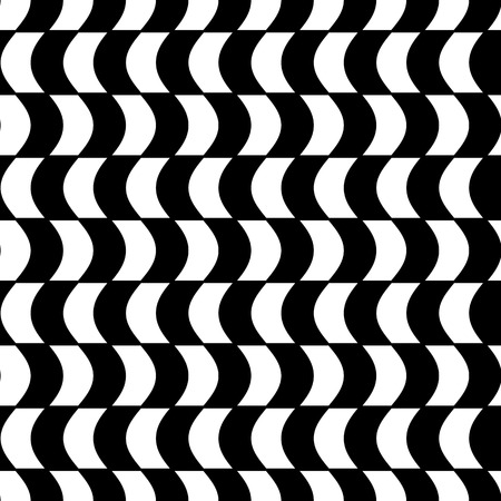concave: Abstract black and white background with concave illusion, geometric seamless pattern