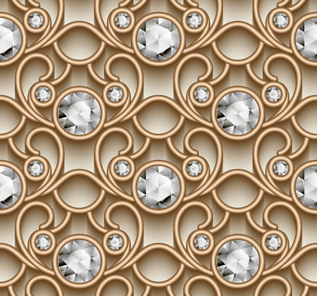 arabesque pattern: Vintage gold ornament, jewelry seamless pattern with diamonds