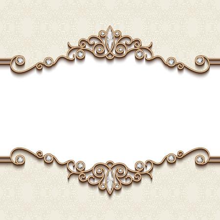 Vintage gold frame on white, divider element, elegant background with jewelry borders Stock Illustratie