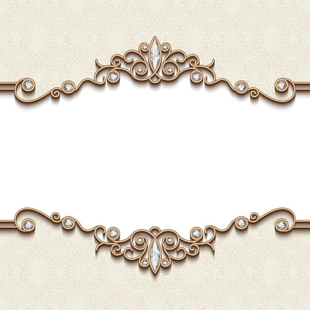 Vintage gold frame on white, divider element, elegant background with jewelry borders Ilustracja