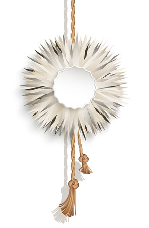 downy: Elegant fluffy ball, downy feather pendant with cord, furry badge on white