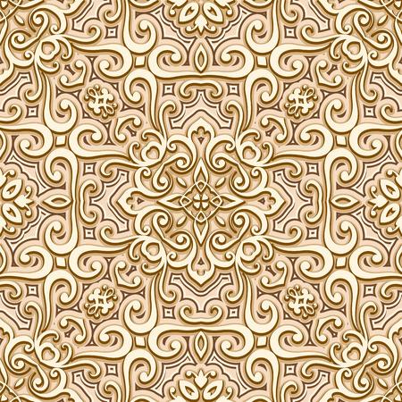 arabesque pattern: Abstract seamless pattern, vintage gold background, ornamental golden texture Illustration