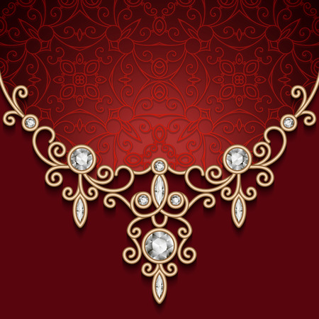 diamond necklace: Vintage gold jewelry necklace, diamond jewellery decoration on red background