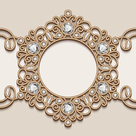 jewelry background: Vintage gold background, diamond vignette, label, swirly jewelry frame