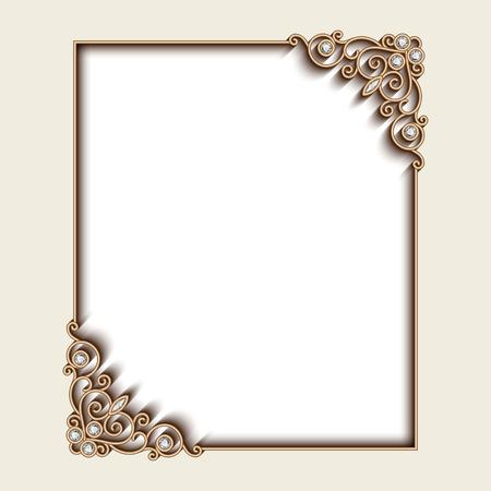 Vintage fond d'or, cadre de bijoux rectangle avec des coins d'ornement, carte de voeux ou modèle d'invitation