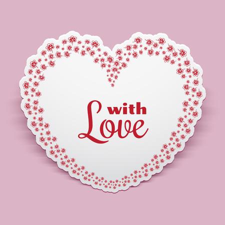 Papier Herz mit floralen Grenze Ornament, Valentinstag Grußkarte oder Einladung Vorlage Standard-Bild - 56298823