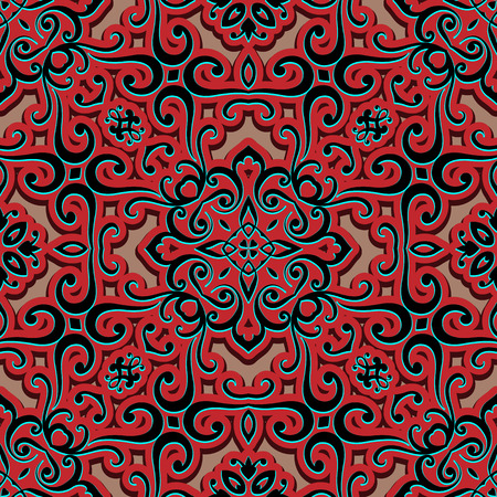red wallpaper: Abstract swirly ornament, arabesque, decorative tile, seamless pattern