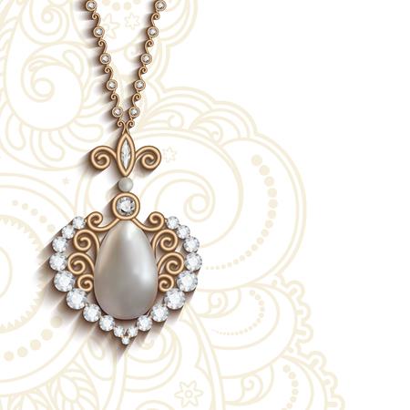 Weinlese-Goldschmuck Anhänger Mit Diamanten Und Perlen, Rund Schmuck ...