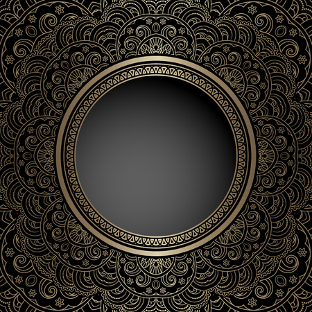 ornamental: Vintage gold background with round hole, ornamental frame template