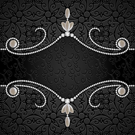 Black background with diamond jewelry border, divider, header, vintage jewellery frame Illustration