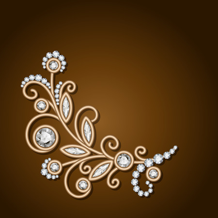 diamond jewellery: Gold jewelry background with diamond sprig, jewelry flower, jewellery floral decoration, elegant greeting card or invitation template