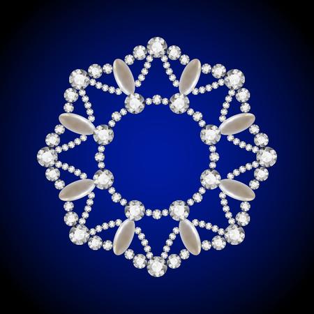 round collar: Round diamond jewelry pendant with pearls, elegant decorative circle frame Illustration