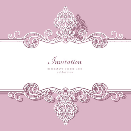 pink wallpaper: Elegant background with border lace ornament, divider, header, decorative paper lace frame, greeting card or wedding invitation template