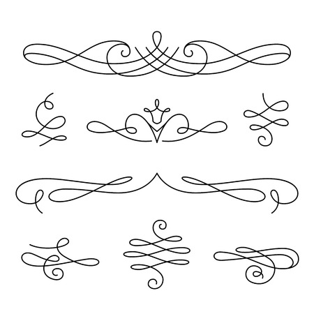 scrollwork: Vintage vignettes, page decoration template, set of calligraphic decorative design elements in retro style, scroll embellishment on white