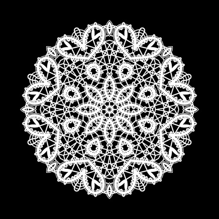tulle: Round white lace ornament on black, lace doily, mandala, circle lacy decoration Illustration