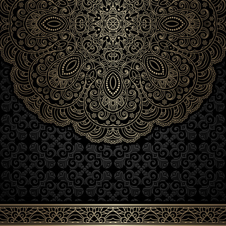 retro floral: Vintage gold background with round lace ornament and seamless border Illustration