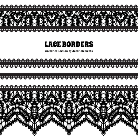 Black and white lace background, ornamental frame with lacy borders, set of lace ribbons on white