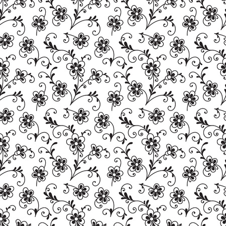 Black and white floral ornament, seamless pattern of small flowers