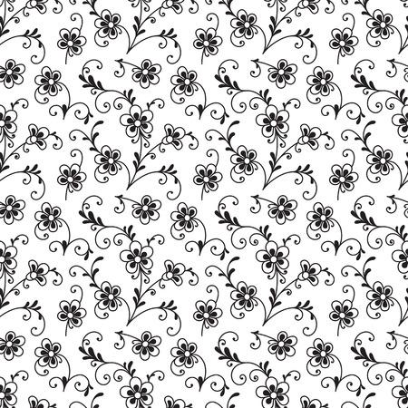 ornamento floral blanco y negro, sin patrón de pequeñas flores