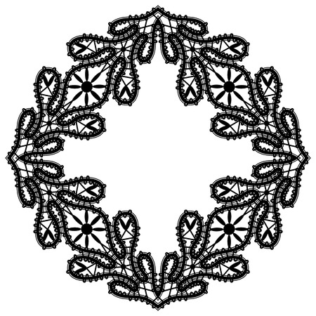 tatting: Black and white square lace frame, black lace ornament on white background, tatting lace decoration, vintage embellishment in retro style