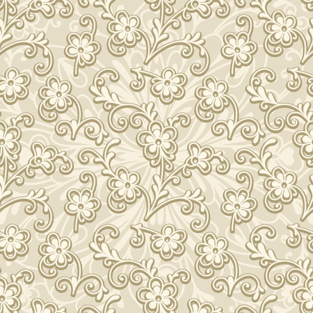 seamless floral pattern: Abstract beige floral ornament, seamless pattern of small flowers