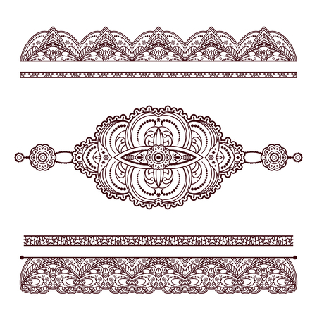 Set of henna tattoo ornaments, decorative doodle elements and endless borders in Mehndi style on white
