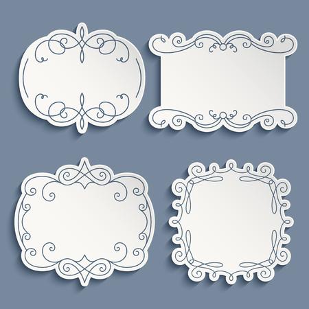 vintage paper: Set of ornamental labels, cutout paper frames with flourish decoration, vintage calligraphic vignettes Illustration