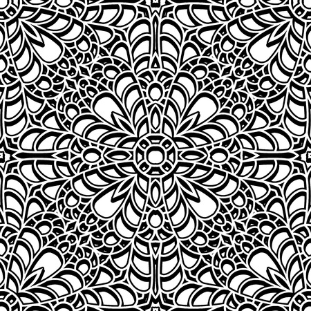 carving: Abstract black and white ornament, seamless pattern Illustration