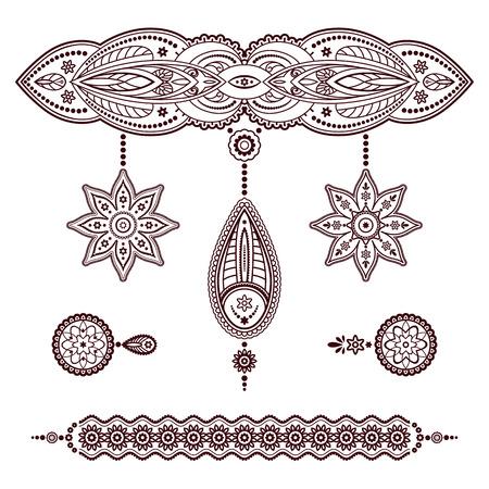 Conjunto de modelos de henna tatuaje, Elementos de bosquejo decorativos, colgantes y adornos pulsera en el estilo de Mehndi en blanco Ilustración de vector